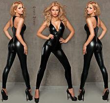 Catsuit Overall schwarz Wetlook Clubwear Party GOGO Gr. S M 36 38 Wet Look