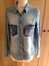 GREAT RIVER ISLAND BLUE WORN LOOK DENIM SHIRT UK SIZE 8 WORN GOOD CONDITION
