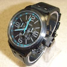 TW Steel Canteen Chronograph Black Dial / Black Leather Strap Mens Watch TW904R
