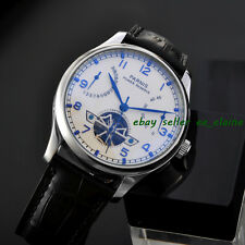 43mm Parnis White Dial Seagull Automatic Movement Power Reserve Mens Watches