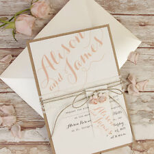 Pink Flower Lace Rustic Chic Handmade Day Wedding Invitation Personalised Sample