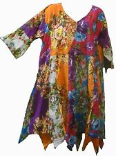 FUNKY STUFF hippy patch floral thin cotton hanky TOP TUNIC DRESS 1X 2X Free ship
