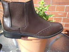 BROWN LEATHER BROGUE STYLE CHELSEA BOOTS SIZE 9 UK