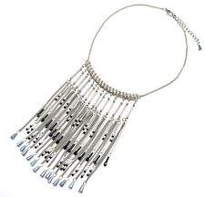 CC1194E * Collier Plastron Ethnique Multi-Chaînes Pendantes Métal Perles Gris