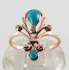 LUSH 9CT 9K ROSE GOLD PERSIAN TURQUOISE & DIAMOND ART DECO INS RING FREE RESIZE