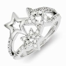 STERLING SILVER POLISHED TRIPLE STAR / 3 STARS - CZ  STAR RING  - SIZE 6