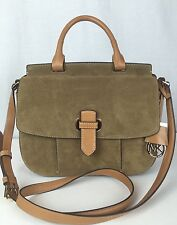 NWT $378 MICHAEL KORS Romy Large Messenger Crossbody Desert Suede Leather Bag