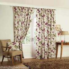 FLORAL TAPE TOP KERENA AUBERGINE  HEAVY QUALITY READY MADE CURTAIN 90x90 INCHES
