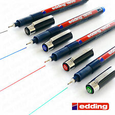 4 x EDDING 1800 DRAWING PEN PIGMENT LINER FINELINER 0.3mm Black,Blue,Red,Green