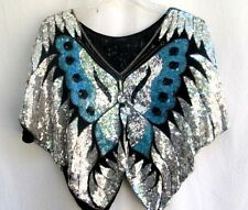 VTG 70's 80's..BLUE BLACK & SILVER..BUTTERFLY..SEQUIN..SILK..TOP..DISCO.ONE SIZE