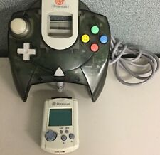 Official Sega Dreamcast Smoke Clear Black Controller With Authentic VMU Memory !