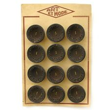Carte de 12 gros boutons anciens Marron et intérieur tissu marron - 34mm