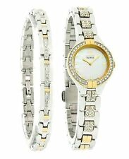 CITIZEN WOMENS $375 ECO-DRIVE TWO-TONE WATCH 2 PC. GIFT SET, CRYSTALS EX1004-62D