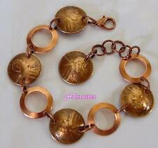 1993 LUCKY PENNY SOLID COPPER RINGS CHARM BRACELET 23 BIRTHDAY ANNIVERSARY GIFT!