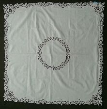 """Vintage White BATTENBURG LACE Embroidered Table Topper Sq 45 x 45"""" NEW"""