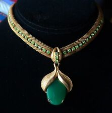 Vintage Necklace Green Peking Glass Pendant Wide Rhinestone Mesh Collar