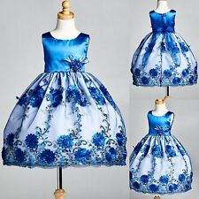 Satin Floral Embroidery Dress w/ Sequence Detail Flower Girl Pageant #0013