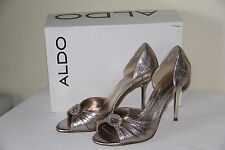 NEW Aldo LAACK Women Shoes High Heels Open Toe Bronze Sandals Size US 7.5 EUR 38
