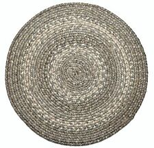 "Homespice Decor PEWTER Gray Braided Jute 15"" Round Placemat"