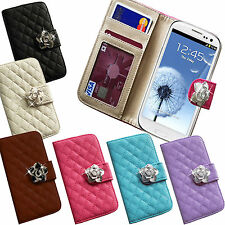 LEATHER QUILTED FLIP PURSE CRYSTAL ROSE FLOWER WALLET CREDIT CARD CASE COVER