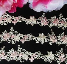 Pink flower Vintage embroidery lace trim   - price for 1 yard
