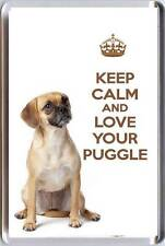 KEEP CALM and LOVE YOUR PUGGLE with a Puggle Dog image Fridge Magnet