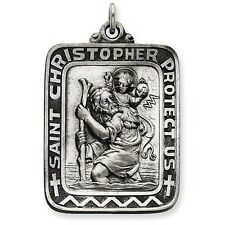 XLarge Square 925 Sterling Silver Saint St. Christopher Charm Medal Pendant NEW