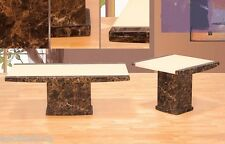 Coffee table & End Table in Cappuccino & Ivory color Marble top living room set