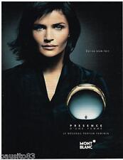 PUBLICITE ADVERTISING 105  2002  MONT BLANC  parfum de femme PRESENCE