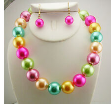 Joan Rivers Multi Colored Faux Pearl Necklace/Earring Set (w/JR romance card)