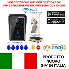 VIDEOCITOFONO WIFI WIRELESS CON TELECAMERA HD CHIAMATA REMOTA ID CARD SMARTPHONE