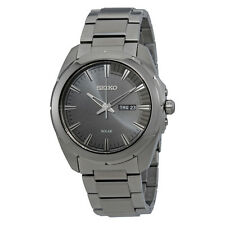 Seiko Men's SNE419 Recraft Solar Black Dial Gray Stainless Steel Casual Watch