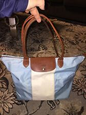 LONGCHAMP COLORBLOCK LE PLIAGE 2TONE BLUE WHITE STRIPE LARGE TOTE BROWN TRIM HTF