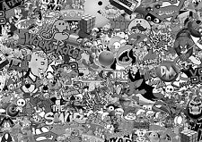 Nuevo 80's Blanco Y Negro Stickerbomb sheet-x1 - 1m X 1,5 m (euro / drift/jdm/cartoon)