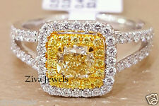 2.00ct Cushion Cut Fancy Yellow Diamond Engagement Ring 14K White Gold