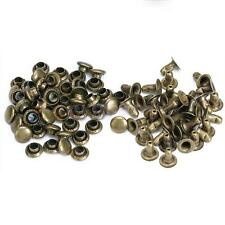 100pcs 6mm Single Cap Rivet Round Rapid Stud Leather Craft Work Antique Brass