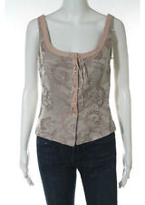 NWT REBECCA TAYLOR Brown Silk Embroidered Cropped Tank Top Sz 4