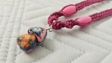 Dark Pink Hemp Necklace Fimo Clay Mushroom Pendant Handmade Surfer Boho Yin Yang