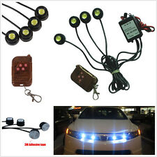 4Pcs White LED Hawkeye Knight Night Rider Scanner Lighting Grille Remote Control