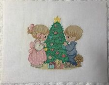 Completed Handmade Cross Stitch Precious Moments Boy Girl Christmas Tree Xmas