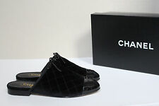 New sz 7.5 / 38 CHANEL Quilted Black Velvet Mule Flat Logo Cap Toe Slip on Shoes