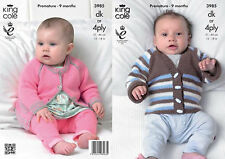 King Cole DK & 4 Ply  Knitting Pattern 3985:Boys & Girls Cardigans