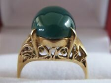 ESTATE  Emerald Green Cabochon Chrysoprase Handmade Leaf Ring Set in 18k Gold