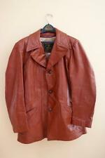 Vintage 1970's Mens Leather Blazer Jacket Coat  Rocker 44L Brown Red