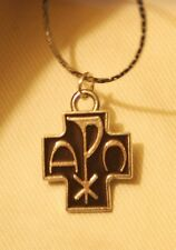 Handsome Small Brown Enamel Chi Rho Cross Alpha Omega Silvertn Pendant Necklace
