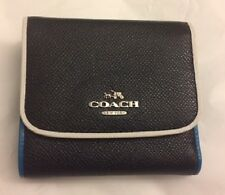 NWT Coach 55296 Small Wallet in Tricolor Edgestain Leather Black Tricolor