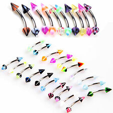 20PCS Mixed lot Cone Barbell Curved Eyebrow Piercing Stainless Steel Rings Bar!!