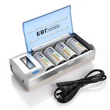 4x 10000mAh NI-MH Cell D Size Rechargeable Battery + LCD Smart Battery Charger