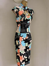 Immaculate Karen Millen Oriental Floral Cocktail Wiggle Pencil Dress Size 10