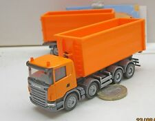 Herpa   306041  Scania R Abrollmulden-Hängerzug, orange
